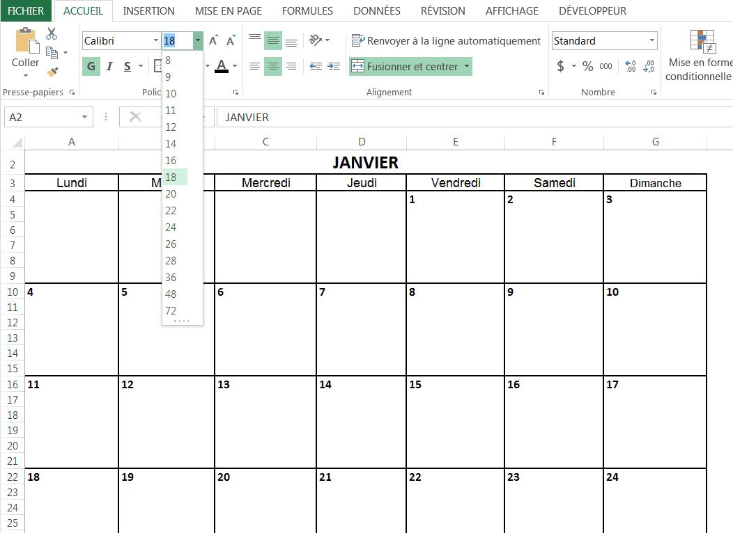 Creez Un Calendrier 2016 Dans Excel Modele Gratuit