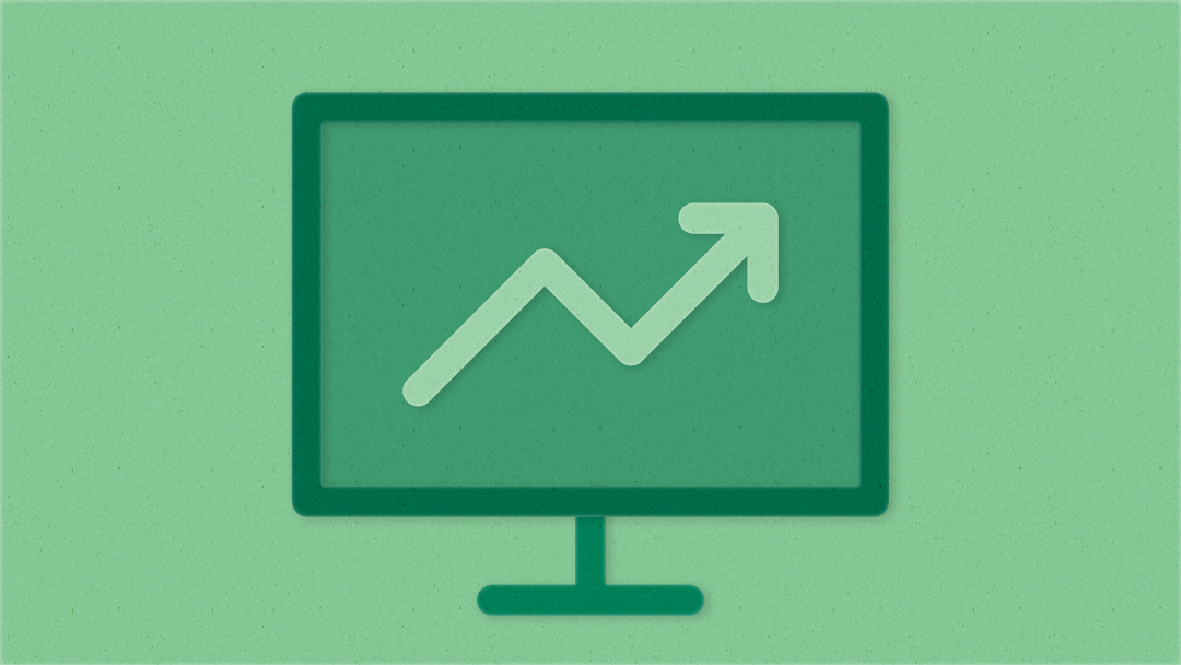 Illustration of an upward trend line on a computer monitor.