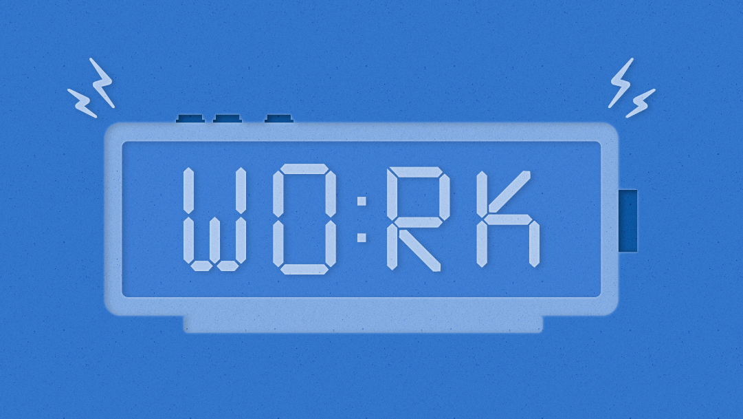 "Illustration of an alarm clock that reads ""WO:RK"""