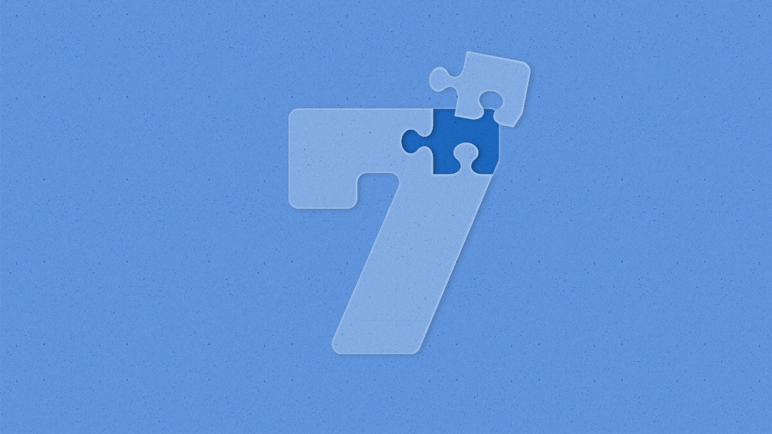 Illustration of the number seven, the top looks like a puzzle