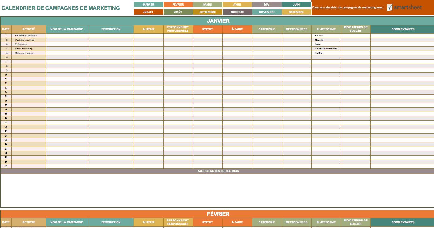 9 Modeles Excel Gratuits De Calendriers Marketing Smartsheet