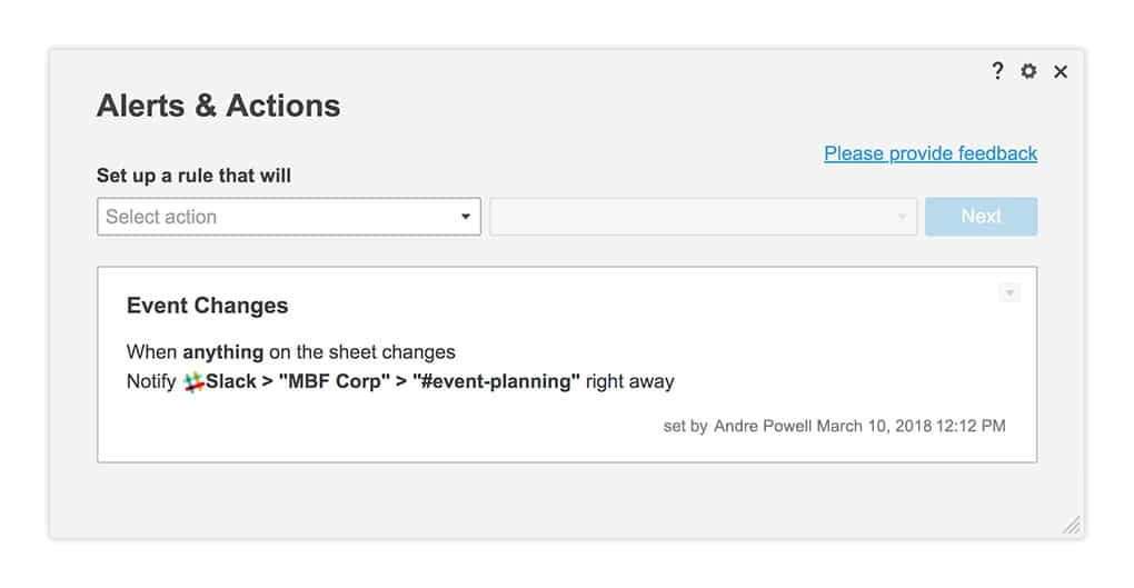 Alerts & Actions Slack Rule